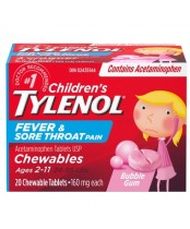 Children's Tylenol Chewables, Fever & Sore Throat ( 20 Tablets )