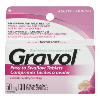 Gravol Dimenhydrinate Easy to Swallow Tablets for Adults
