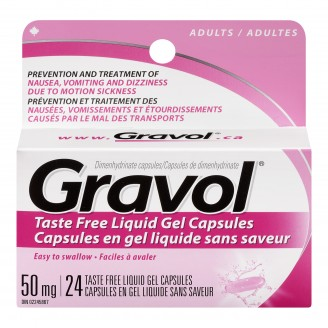 Gravol Dimenhydrinate Taste Free Liquid Gel Capsules for Adults