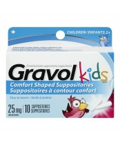Gravol Kids Dimenhydrinate Comfort Shaped Suppositories