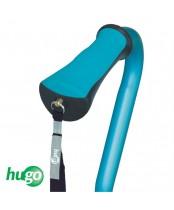 Hugo Adjustable Offset Handle Cane with Reflective Strap, Aquamarine